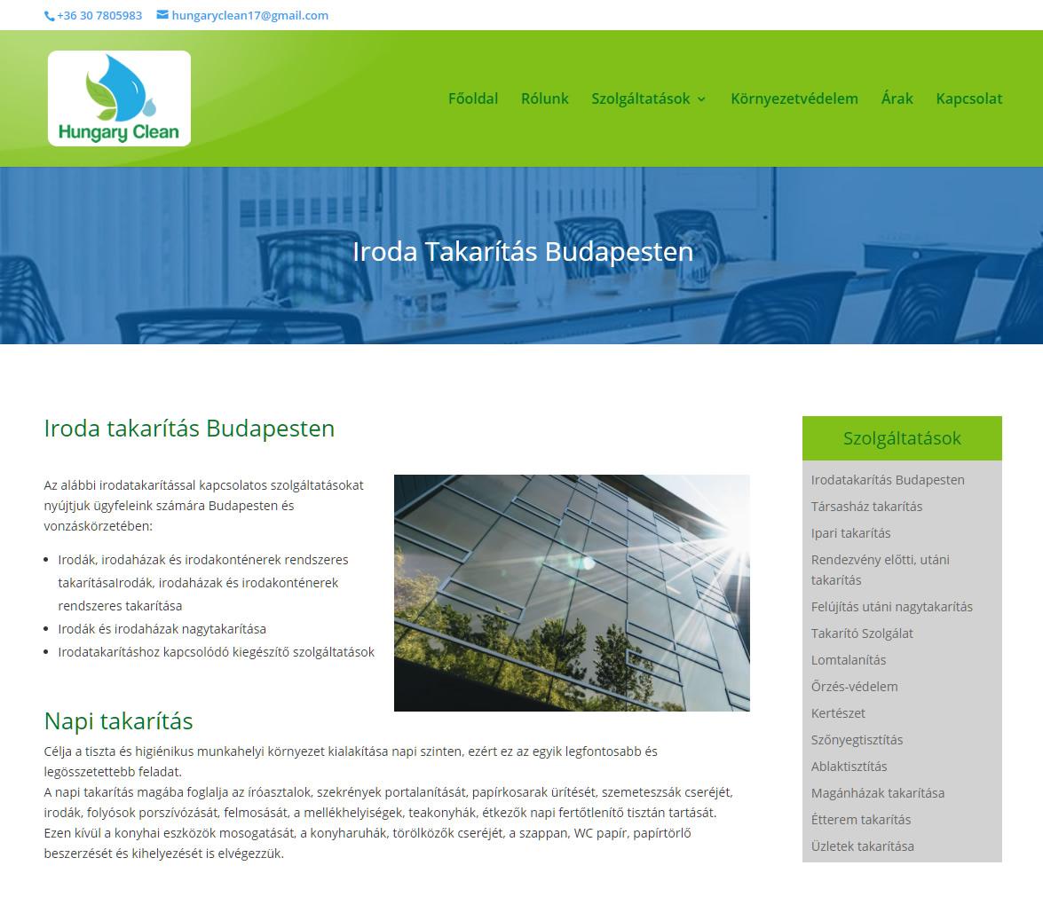 weboldal készítés egy takarító vállalkozás részére