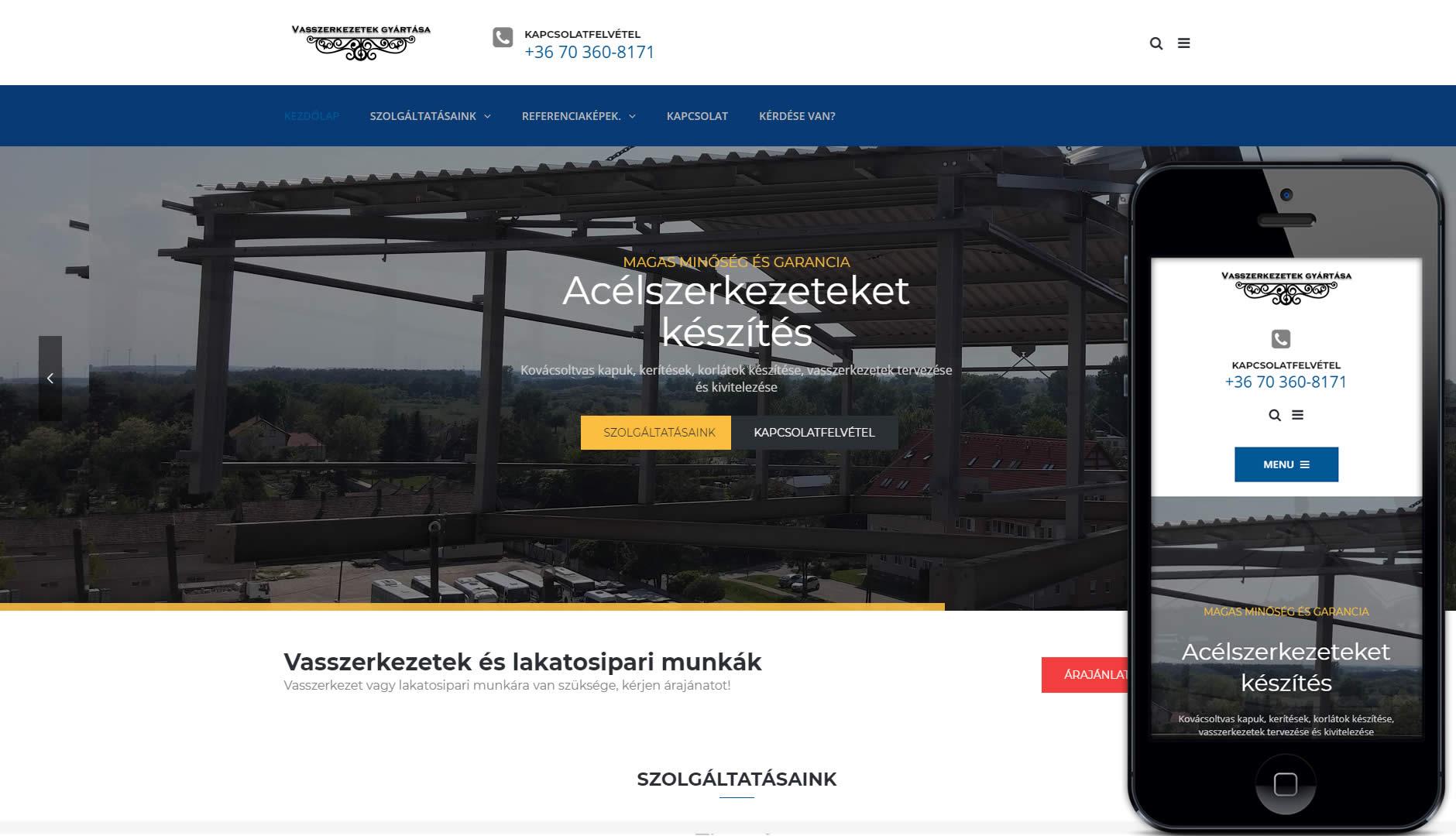 vasszerkezetek weboldal készítés redesign