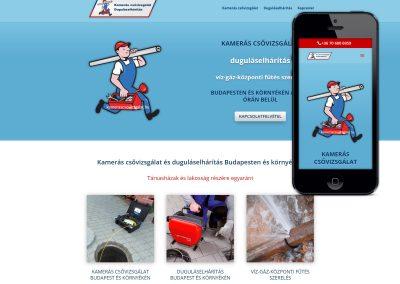 Weboldal készítés kamerás csővizsgálat ás duguláselhárítás szakember részére