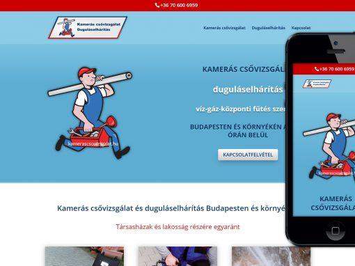 Kamerás Csővizsgálat és Duguláselhárítás Weboldal