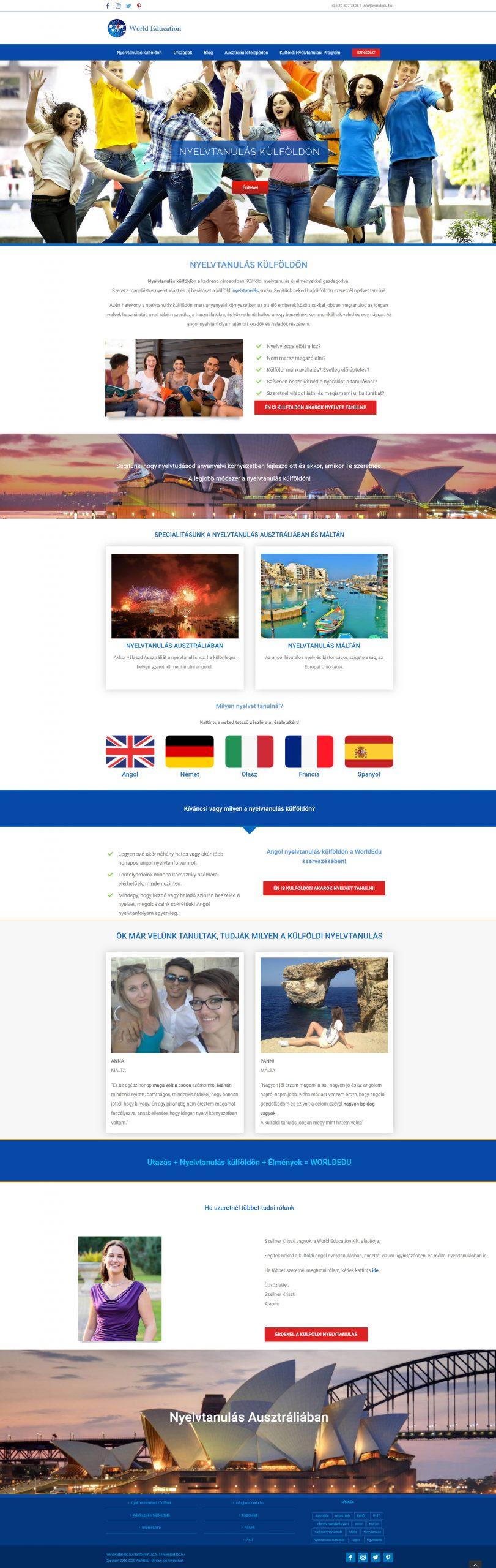 WorldEdu WordPress weboldal újratervezés